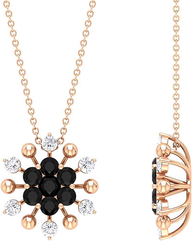 1.50 CT Created Black and White Pendant N Cluster Diamond Under Sales results No. 1 blast sales Floral