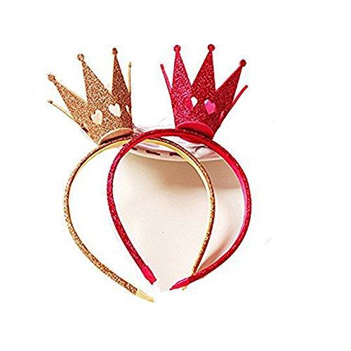 Ever Fairy® Mädchen Shiny Crown Haarband Prinzessin Mädchen Krone Stirnband Hochzeit (Gold+Rosa)