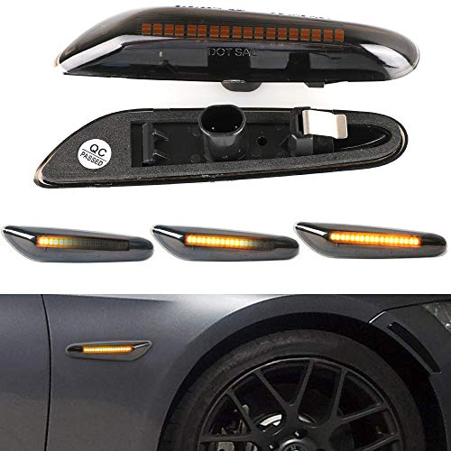 Jinfili Sequential Dynamic Dark Smoked Lens Full LED Front Fender Side Marker Light Turn Signal Lamp Assembly Replacement For BMW E90 E91 E92 E93 E60 E61 E82 E83 E88
