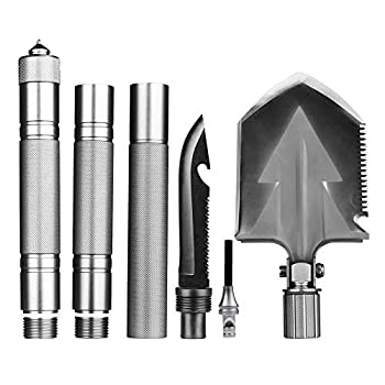 Outdoor Hiking Military Survival Shovel Folding Tactical Spade Shovel Multitool Emergency Collapsible Shovel for Car with Detachable Silver Aluminium Handle