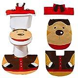 Ritte 3pcs Set De Inodoro Decoración De Baño De Navidad Navidad De Alfombra De Baño +Cubierta del Cartón Cubierta del Tanque De Agua + Tapa De Inodoro (Elk)