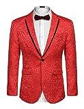 COOFANDY Men's Rose Floral Suit Jacket Blazer Weddings Prom Party Dinner Tuxedo (M, Red)