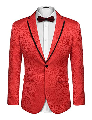 COOFANDY Men's Rose Floral Suit Jacket Blazer Weddings Prom Party Dinner Tuxedo (M, Red)