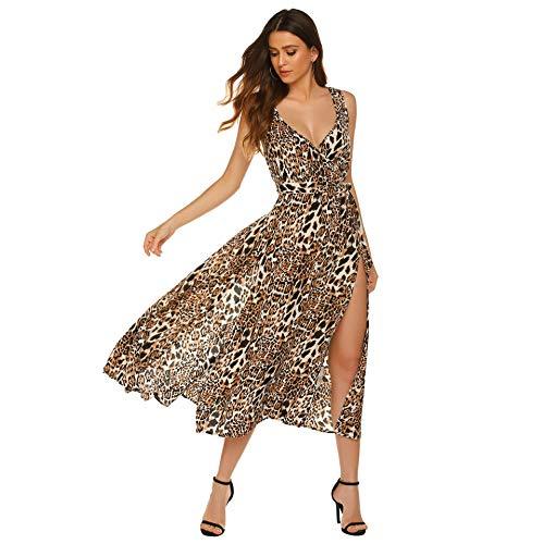 SHISAIGOU Damen Off Shoulder Kleider V-Ausschnitt Sommer Sexy Strandkleid Casual Midi Sundress (Color : Leopard, Size : M)