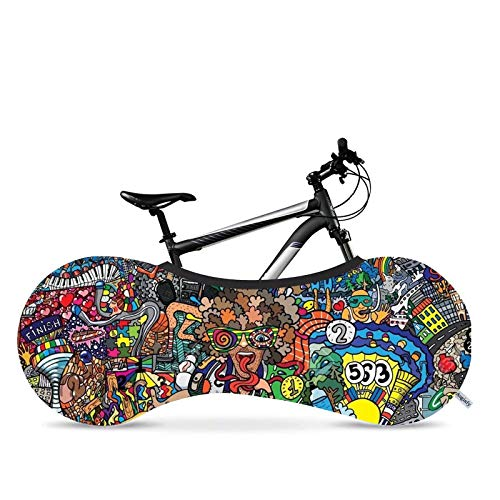 PLANET SISTER Bicycle Wheel Cover- Indoor Cover for Storage and Transportation, Stretchy Dirt Proof Fabric, Bike Travel Protection Cover, Multiple Designs, Stylish Accessory for Adult Bike (Style 2)