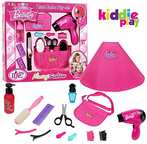 Kiddie Play Pretend Play Girls Beauty Salon Fashion Toy Set Including Hair Dryer Curling Iron Mirror Scissors Hair Brush and More (13 Piece)