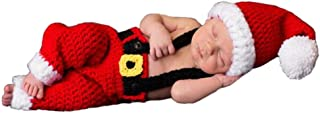 Newborn Baby Photography Props Boy Girls Photo Shoot Props Christmas Outfits Crochet Knitted Costume Cute Infant Hat Pants Red