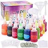 GOLDGE 26 Colores Tinte Ropa Kit para Bricolaje, Vibrantes Pinturas Textiles de Tela Tie Dye Kit para Niños y Adultos con 120 Bandas de Goma, 10 Pares de Guantes de Plástico, 5 Delantal, No Tóxicos