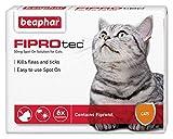 Beaphar® FIPROtec® Kill Flea Ticks Spot On Drop Treatment Protection for Small Medium Large XL Dogs Puppies & Cats (Cats, 6 Treatments)