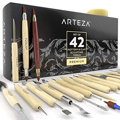 ARTEZA Pottery & Polymer Clay Tools, 42-Piece Sculpting Set, Steel Tip Tools with Wooden Handles, for Pottery Modeling, Smoothing, Carving & Ceramics