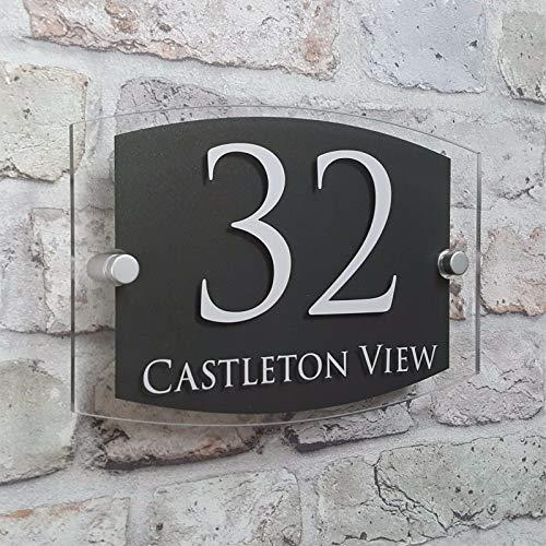 Personnalisé Plaque d'adresse de maison moderne signes de numéro de porte plaques nominatives verre effet acrylique (03)