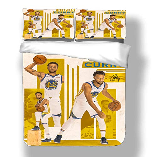 Duvet Cover Set Stephen Golden State Basketball Player 30 Bedding Chef Curry Warriors Super Star Post-Up Play Free Throw Percentage Quilt Coverlet with 2 Pillow Shams Human Torch Three Pointer MVP