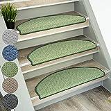 Floordirekt Stufenmatten Baleno | Halbrund oder Eckig | Treppenmatten in 5 Farben | Strapazierfähig & pflegeleicht | Stufenteppich für Innen (Grün, Halbrund 65 x 23,5 cm)