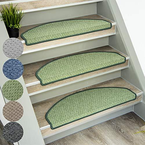 casa pura Stufenmatten Baleno | klassischer Treppenteppich rundum gekettelt und starker Halt | in 5 Farben mit Teppichläufer kombinierbar (Grün, halbrund, 15 Stück Set)