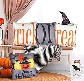 HXS Halloween Pillow Covers Set of 4 Trick or Treat Fall Pillow Covers 18x18 Fall Throw Pillow Covers 18x18 Halloween Throw Pillow Covers Halloween Decorations for Sofa Couch Home Indoor