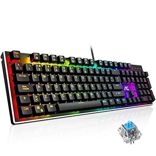 Teclado Mecánico Gaming ACGAM AG-109R 105 Teclas y Switches Blue,100% Anti-Ghosting RGB Retroiluminado Mechanical Keyboard con Disposición Española(Tiene ñ)