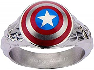 Captain America 3D Shield - Stainless Steel Officially Licensed Premium Quality Mens Ring, Size - 10