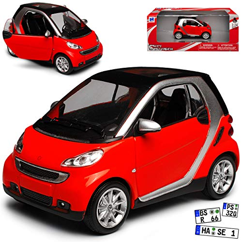 New Ray Smart ForTwo C451 2 Türer Rot 2007-2015 1/24 Modell Auto