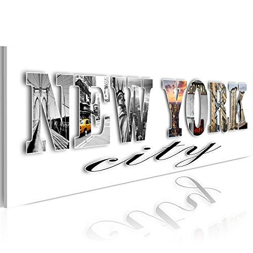 B&D XXL murando Impression sur Toile intissee 120x40cm 1 Piece Tableau Tableaux Decoration Murale Photo Image Artistique Photographie Graphique New York Paysages urbains 020115-31