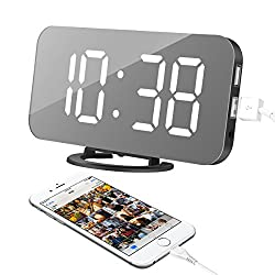 Alarm Clock, LED Digital Clock with 6.5 Large Display, Dual USB Charging Ports, Easy Snooze Function, Diming Mode, Mirror Surface Clock for Bedroom Living Room Office Travel (White Digital)