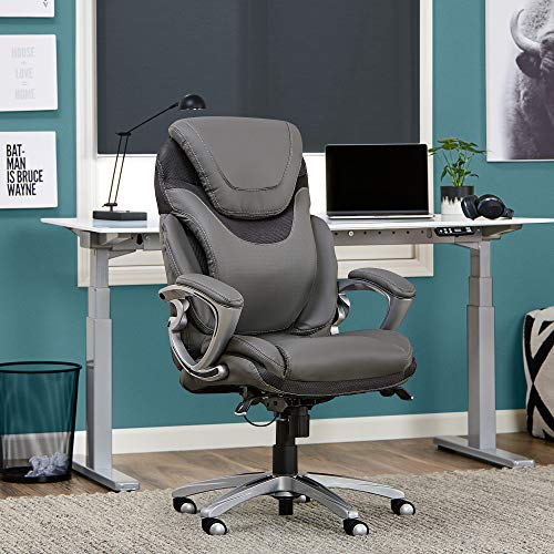 Serta AIR Health and Wellness Executive Office Chair High Back Ergonomic for Lumbar Support Task Swivel, Bonded Leather, Light Gray