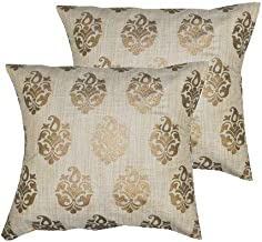 PINK PARROT Decorative Silk Throw Pillow/Cushion Covers , 12x12-inches (Ivory) - Set of 2 Pieces