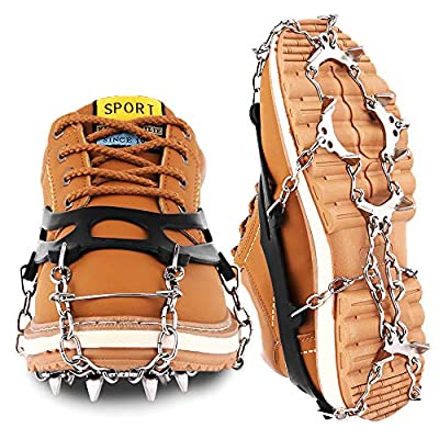 Cutiful Traction Cleats Crampons Ice Snow Cleats Ice Grips Grippers Microspikes Men Women Boots Shoes Spikes Walking Camping Hiking Winter Snow Spikes