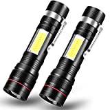 Rechargeable LED Flashlight T6 with Cob Sidelight, CoaTaco High Lumens Super Bright Mini Torch Handheld Flashlight with Clip, Zoomable, Water Resistant, 3 Light Modes (2 Pack)