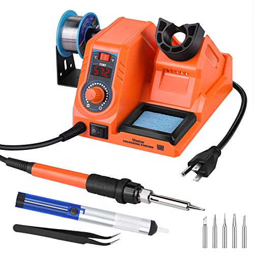 Vastar Soldering Iron Station Kit - 60W 392℉~896℉Adjustable Temperature C/F Switch, Auto-Sleep Anti-Static Fast Heating Up, 5 Soldering Iron Tips, Wire, Desoldering Pump