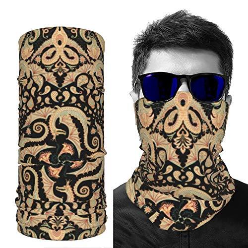 Polaina para el cuello, unisex, protección UV, bandana colorida de dragón en una cachemira negra, impermeable, transpirable para esquí, motocicleta, ciclismo, correr, senderismo