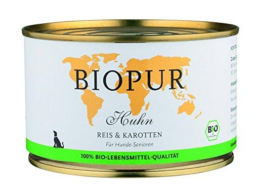 Biopur Bio Hundefutter Senior: Geflügel, Reis, Karotten 400g Glutenfrei, 12er Pack (12 x 400 g)