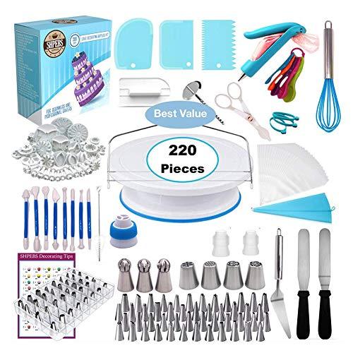 Juego de herramientas para decoración de tartas, juego de tocadiscos, boquillas de pastelería, bolsas de confitería, boquillas de glaseado, herramientas de horneado, molde para tartas