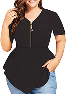 Women Plus Size Blouse Loose Shirt V Neck Tops Tee Sexy Crops