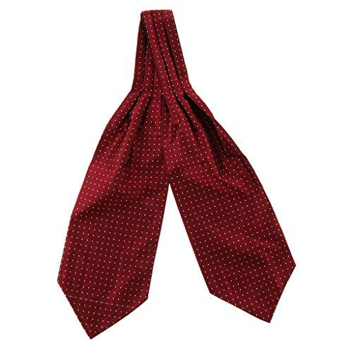 P Prettyia Corbatas Bufandas Jacquard Ascot Paisley Pañuelo de Traje Regalo de San Valentín para Hombres - Rojo
