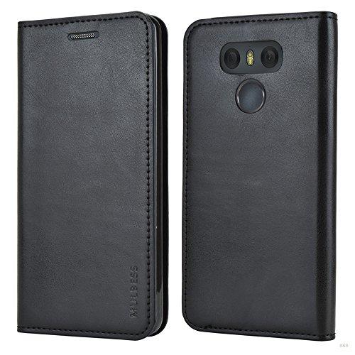 Mulbess Cover per LG G6, Custodia Pelle con Funzione Stand per LG G6 [Slim Case], Nero