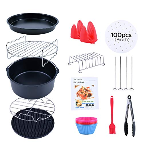 Air Fryer Accessories,Accessories Set of 13 Fit all 4.2QT 5.3QT 5.5QT 5.8QT or Larger Deep Air Fryer,Magnetic Cheat Sheet for Gowise Ninja Cosori Cozyna Philips Power,Dishwasher Safe, Nonstick Coating