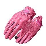Guantes de Moto Retro clásicos nuevos Guantes de Dedo Completo Retro Impermeables de Moto de Cuero para Mujer - Rosa, XS