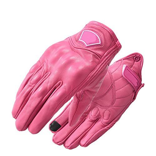 Guantes de Moto Retro clásicos nuevos Guantes de Dedo Completo Retro Impermeables de Moto de Cuero para Mujer - Rosa, s