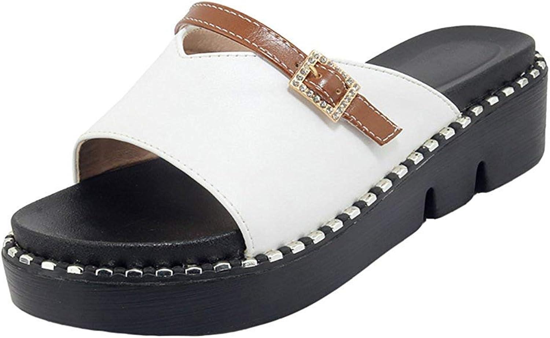 Gedigits Women's Comfortable Open Toe Platform Mid Heel Slide Sandals White 6 M US