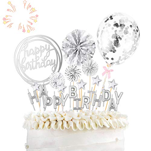 Torta Toppers de Cumpleaños Decoración para Tartas de Cumpleaños con Abanicos de Papel Globos Confeti Cupcake Topper para Bodas, Fiestas, Tartas Cumpleaños, Muffins, Postres, Hornear Etc (Plata)