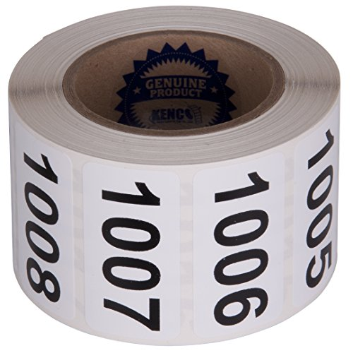 "Consecutively Numbered Labels Self Adhesive Durable Vinyl- Measure: 2"" X 1"" by Kenco (ROLL 1001-1500)"