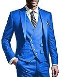 Outwear Traje de 3 piezas para hombre con muescas y etiqueta azul marino, traje de novio de un botón, trajes de negocios formales de esmoquin (chaqueta+chaleco+pantalón)
