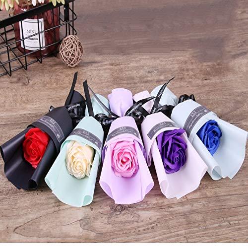 Yuhualiyi123 3 Rose Soap Flower Geburtstagsgeschenke Tanabata Valentinstag handgemachte künstliche Blume 1 Bündel