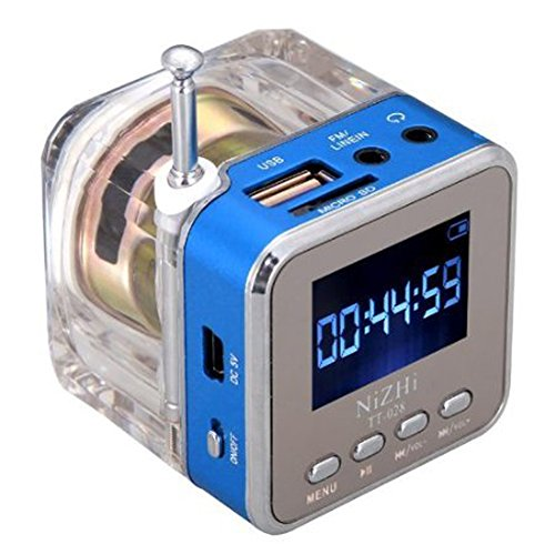 Haoponer Portable Mini Digital Display Screen Speaker USB Flash Drive Micro SD/TF Card Music MP3 Player FM Radio Blue