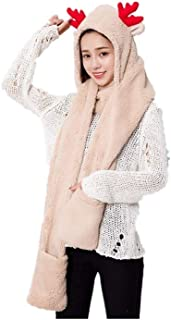 Christmas Womens Cute Winter Thick Warm Long Hooded Scarf with Mittens