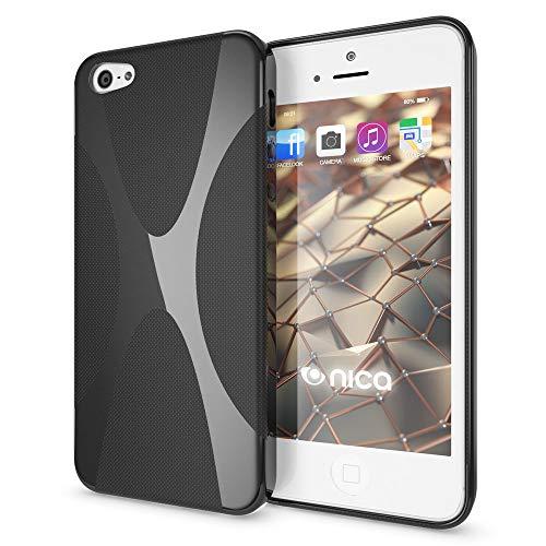 NALIA Custodia compatibile con Apple i SE 5 5S Plus, Cover Protezione Ultra-Slim Case Resistente Protettiva Cellulare Silicone Gel, Gomma Morbido Bumper Copertura Sottile - X-Line Nero