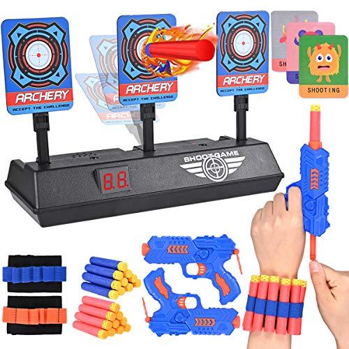 Nabance Objetivo Digital Electrónico con 2 Pistola de Juguete, 20 Dard os y 2 Pulseras, Restablecimiento Automático Armas de Juguete, Inteli Gentes de Sonido y Luz, Color Aleatorio de Pistola
