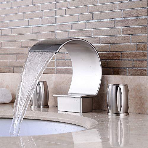 Grifo para lavabo de baño, llave de baño individual de Water Tower, níquel cepillado con manguera de suministro de cUPC, lavabo de tres agujeros, lavabo de lavabo, grifo de cascada doble apertura caliente y fría (negro)
