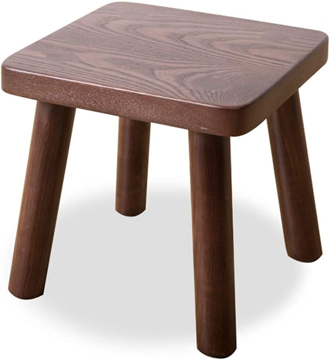 Small Stool-Household Adult Stool Living Room Stool Coffee Table Sitting Stool Wooden Stool Nordic Wood Small Bench FENPING (color   Walnut color, Size   Square 26  26  25cm)