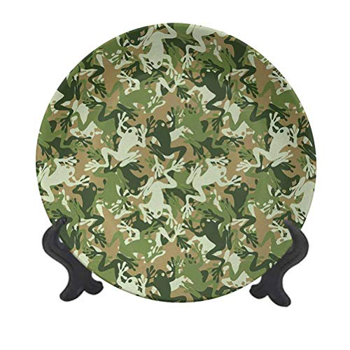 SfeatrutMAT 8' Animal Ceramic Plate,Skull Camouflage Military Design with Various Frog Pattern Different Tones Art Ceramic Decorative Plate for Home Decor Sage Pine Green